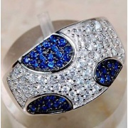 3ct_natural_sapphire__white_topaz_925_solid_genuine_sterling_silver_ring_sz_9