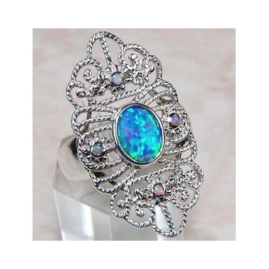 2ct_blue_fire_opal_925_solid_sterling_silver_victorian_style_filigree_ring__sz_6